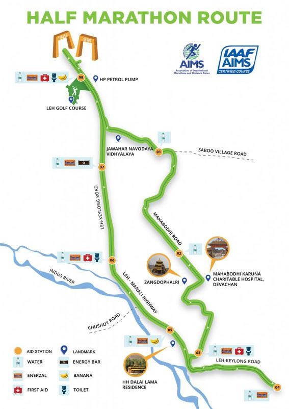 Ladakh Half Marathon Route 2018