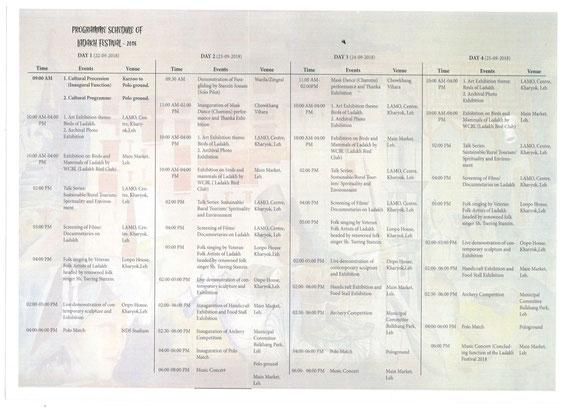 Ladakh Festival Program 2018