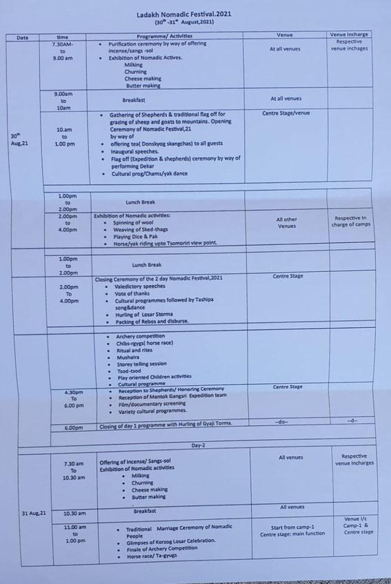 Programm of Ladakh Nomadic Festival 2021