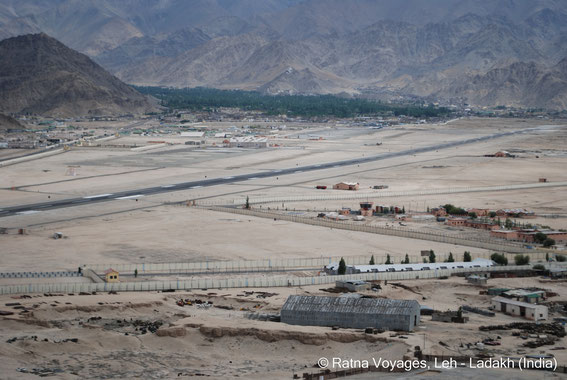 Airfield and Terminal, in the background Leh Town
