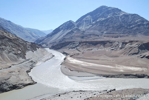 Confluence of Zanskar and Indus rivers at Nyemo