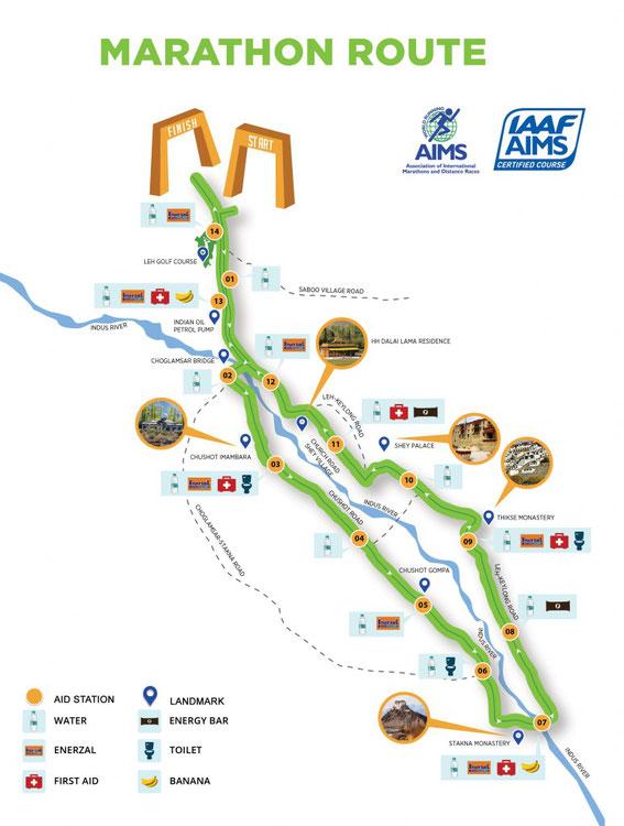 Ladakh Full Marathon Route 2018