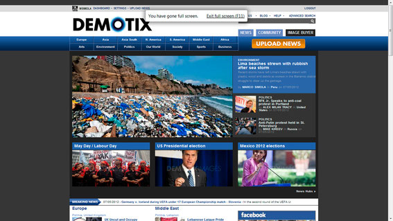 Front page of Demotix webpage