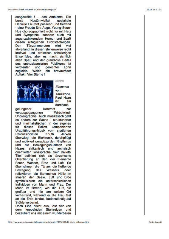 Artikel zur Ballettmusik an der Deutschen Oper am Rhein