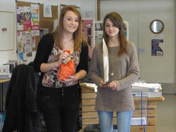 Mélissa Jones et Maëva Zat (de gauche à droite) avec le trophée du Mas Jambost et le sac de clés USB offertes.