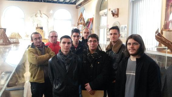 Les élèves de Première BMA à la Maison des Compagnons de Brive-la-Gaillarde avec MM Peuch et Boussely