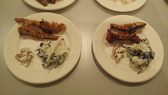 試食していただいたのは、煮干のハーブフリット、わかめと寒天のサラダ、ヨーグルトで戻しただけの煎り大豆