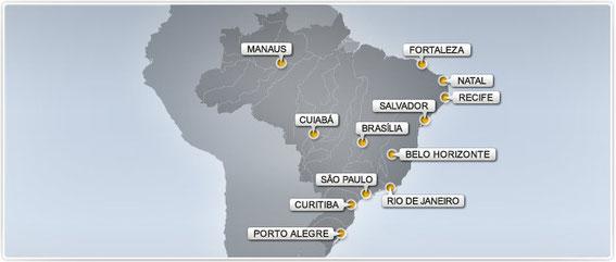 Localisation des douze stades brésiliens accueillant les matches de la Coupe du Monde 2014.