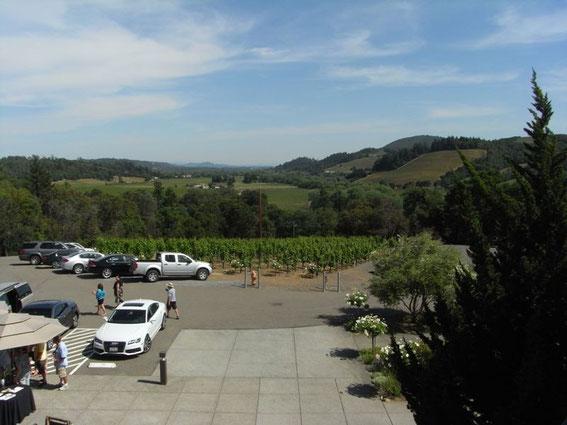 SBRAGIAのバルコニーから。眼下に広がるDry Creek Valley・・・ 悦です!