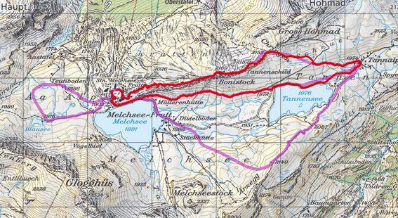 Melchsee-Frutt Panorama Trail Schneeschuh Winter Wanderung Tannalp Karte Route