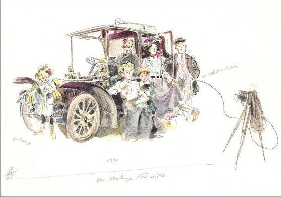 "Postkarte der Serie ""Mercedes Benz - Älteste Automobilfabrik der Welt"": Der stolze Kunde, 1904"