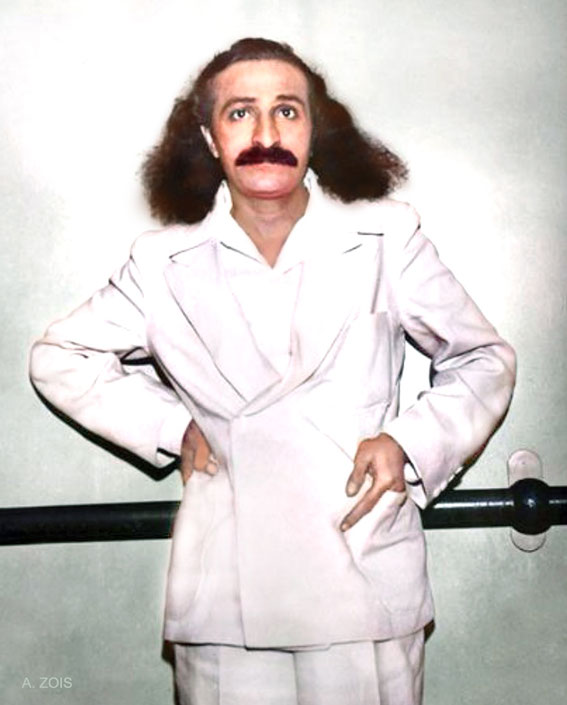 4th June, 1932 : Meher Baba on board the SS Monterey docked in Los Angeles harbour prior to her maiden voyage to Hawaii. Image colourized by Anthony Zois.