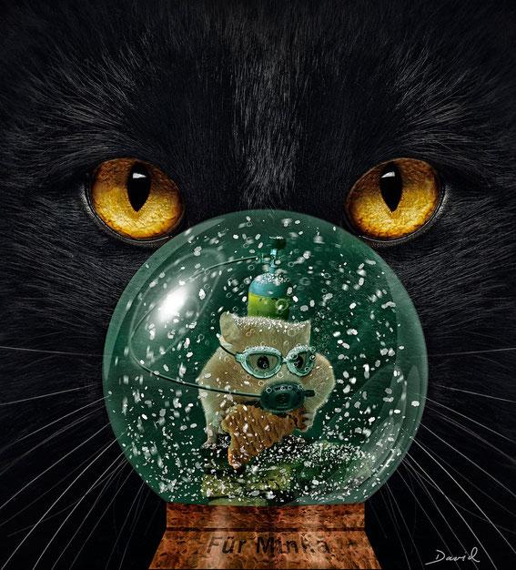 Schneekugel Hamster Katze Fotomontage