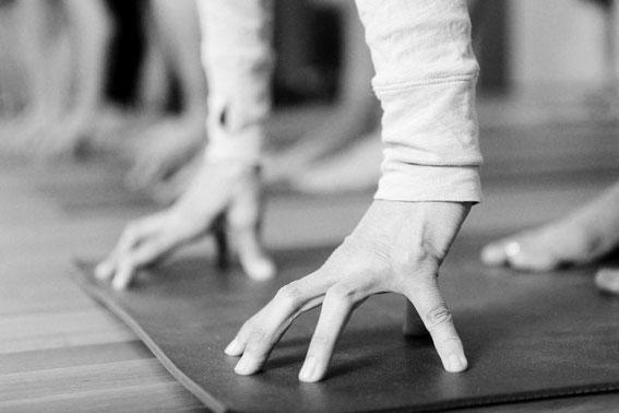 """Yoga für Anfänger, """"cup-shaped"""" hands, Finger tassenförmig auf dem Boden aufgesetzt"""