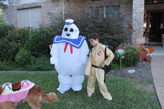 Brayden als Geist, Brennen als Ghostbuster und Buddy als Bananasplit! :D