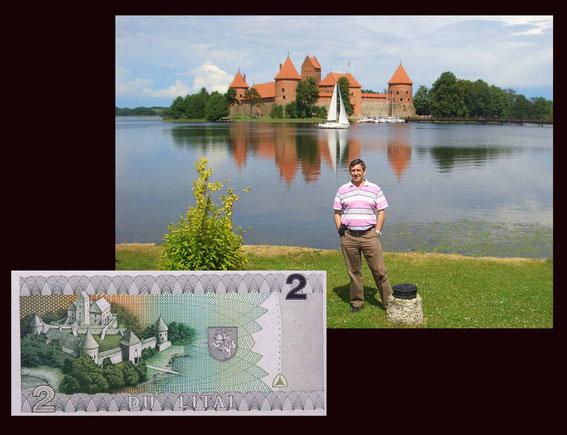 El Castillo de Trakai en el billete de 2 litus de Lituania de 1993
