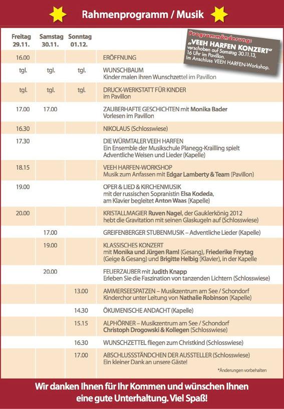 Rahmenprogramm des Weihnachtsmarktes Greifenberg