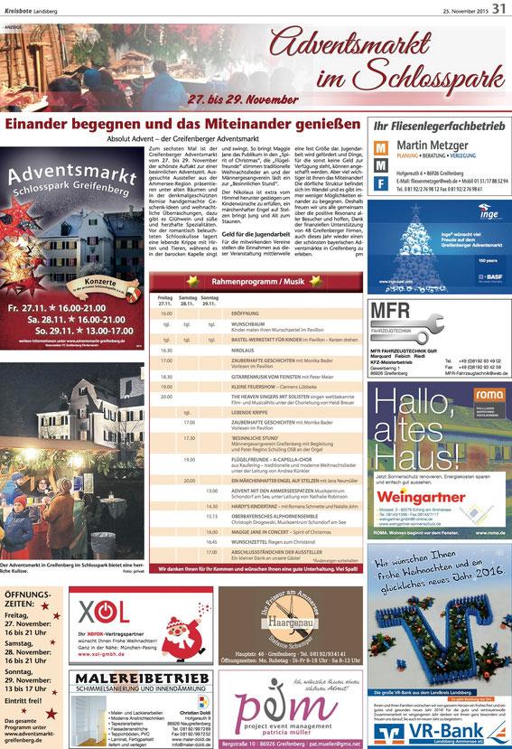 KB Anzeige Adventsmarkt Schlosspark Greifenberg 2015