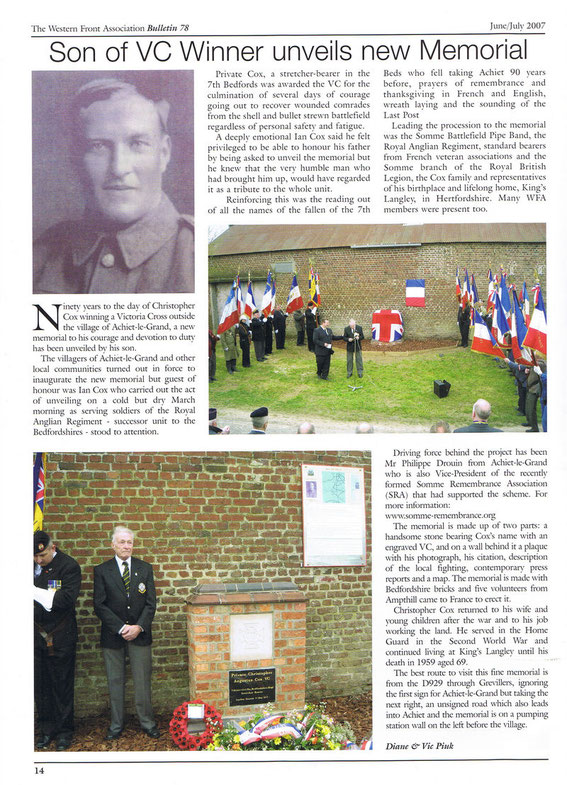 Vic &Diane Piuk Western front article