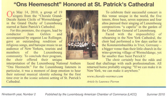 """Artikel am """"Luxembourg American Chamber of Commerce (LACC) Journal"""" vum Summer 2010"""