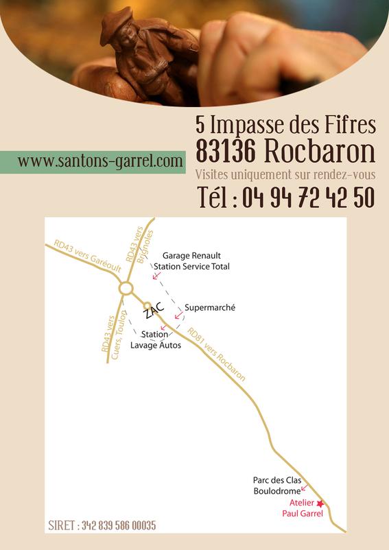 santons Paul Garrel - plan atelier à Rocbaron dans le Var