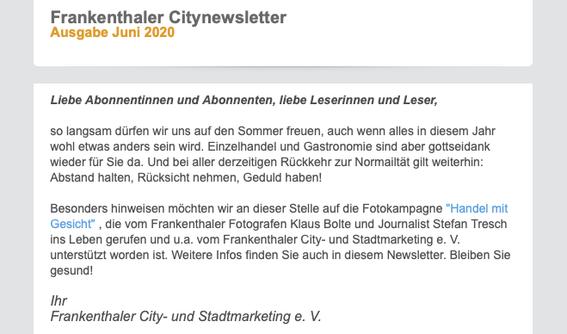 Frankenthaler Newsletter, 01.06.2020