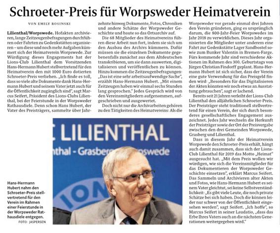 Quelle: Wümme-Zeitung vom 18.11.2019