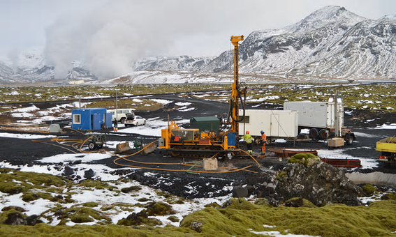 Site close to the Hellisheidi geothermal powerplant, where CO2 was injected into volcanic rock. In two years it was almost completely mineralised. Photograph: Juerg Matter/Science