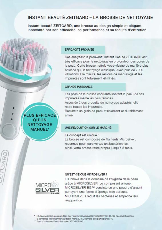 L'Instant Beauté ZeitGard, le nettoyage de la peau atteint un niveau inégalé avec cette brosse oscillante et la technologie Microsilver