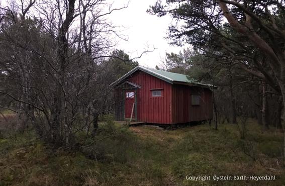 """Bettina Heinen-Ayechs norwegisches Atelier – Die Hütte """"Bettina-Bo"""" auf der Insel Alsten am Polarkreis - Bettina's cottage, Zustand im Herbst 2019"""