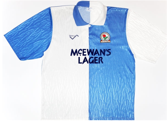 Worn during the promotion season to the Premier League. After beating Leicester City in the Division 2 Play-Off Final, as Rovers had played in yellow that day they donned the Blue 'n' White halves before climbing the steps to the Royal Box for the trophy.