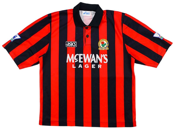 Worn in the inaugural Premier League season when Alan Shearer bagged 22 goals in 26 games as Rovers finished 4th place under boss Kenny Dalglish