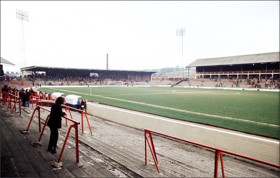 1977: From the Nuttall Street Darwen End Enclosure looking towards The Blackburn End.