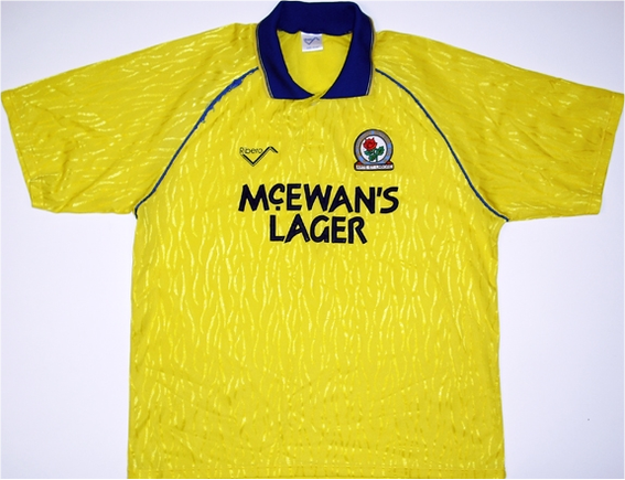 Away shirt and the first to feature the McEwans Lager sponsor. Worn when the side won promotion to the Premier League after beating Leicester City in the Division 2 Play-Off Final at Wembley in Kenny Dalglish's first season in charge.