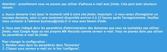 Installer une redirection d' e-mail avec Jimdo
