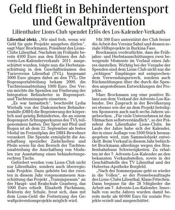 Der Förderverein des Lionsclub Lilienthal freut sich mit den Empfängern über den finanziellen Startschuss für zahlreiche Projekte.