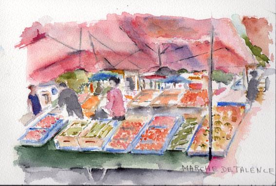 Marché de Talence , marchands de fruits et  légumes