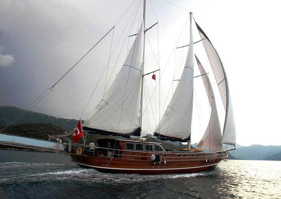 A gulet under sails