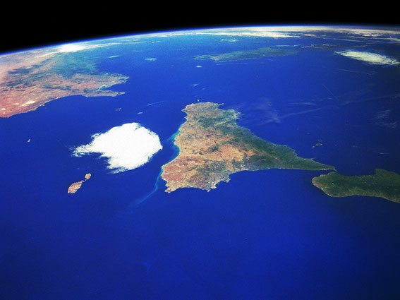 A picture of Sicily taken from the satellite