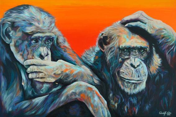 Porträt zweier Affen in Acryl auf Leinwand.