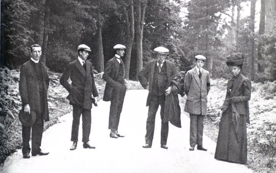 Pere Teilhard's ordination at 30 in England, 1911. From left, Pierre, Gonzague, Joseph, M. Teilhard de Chardin, Victor, Mme, Teilhard de Chardin.