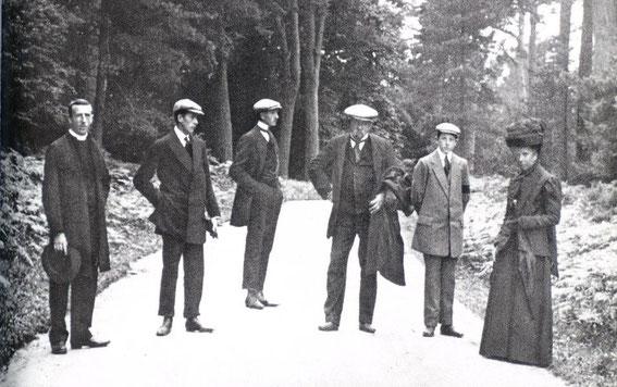 Pere Teilhard's ordination at 30 in England, 1911. From left, Pierre, Gonzague, Joseph, M. Teilhard de Chardin, Victor, Mme, Teilhard de Chardin.