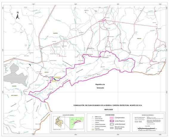 Mapa de la reserva Montes de Oca