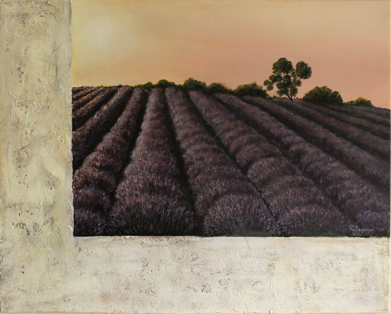 Lavendel bei Abendstimmung 80 x 100 cm Acryl und Paste auf Leinwand
