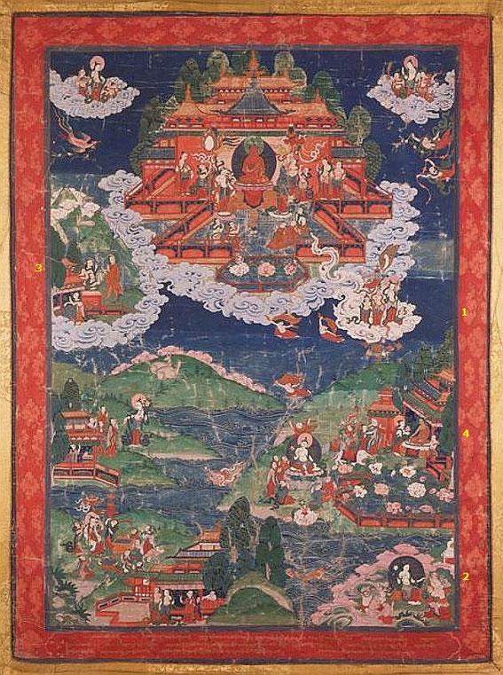 Joseph Hackin (1886-1941) : Mythologie du lamaïsme (Tibet) — Mythologie asiatique illustrée, Librairie de France, Paris, 1928. Amitabha et le paradis Sukhavati.