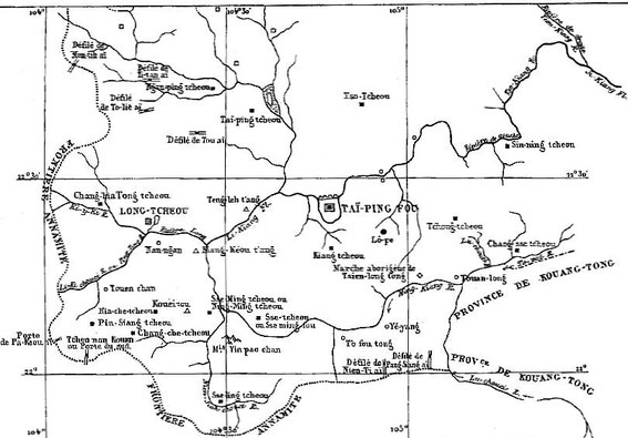 Carte 7, in Gabriel Devéria (1844-1899). La frontière sino-annamite. Ernest Leroux, Paris, 1886.