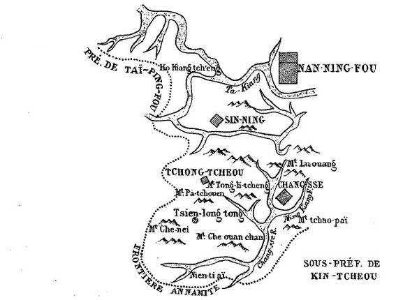Carte 8, in Gabriel Devéria (1844-1899). La frontière sino-annamite. Ernest Leroux, Paris, 1886.