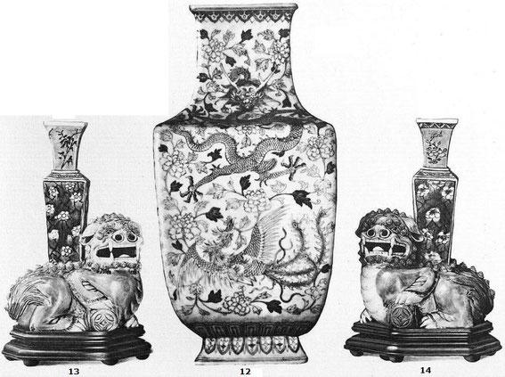 Pièces 12, 13 et 14 de Ernest Grandidier (1833-1912) : La céramique chinoise. Firmin-Didot, Paris, 1894, in-4, II+232 pages+42 planches d'héliogravures par Dujardin, reproduisant 124 pièces de la collection de l'auteur.