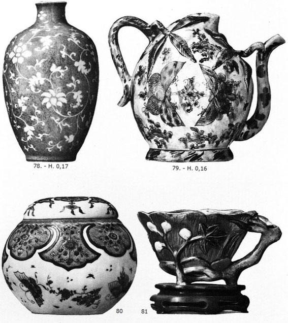 Pièces 78, 79, 80 et 81 de Ernest Grandidier (1833-1912) : La céramique chinoise. Firmin-Didot, Paris, 1894, in-4, II+232 pages+42 planches d'héliogravures par Dujardin, reproduisant 124 pièces de la collection de l'auteur.