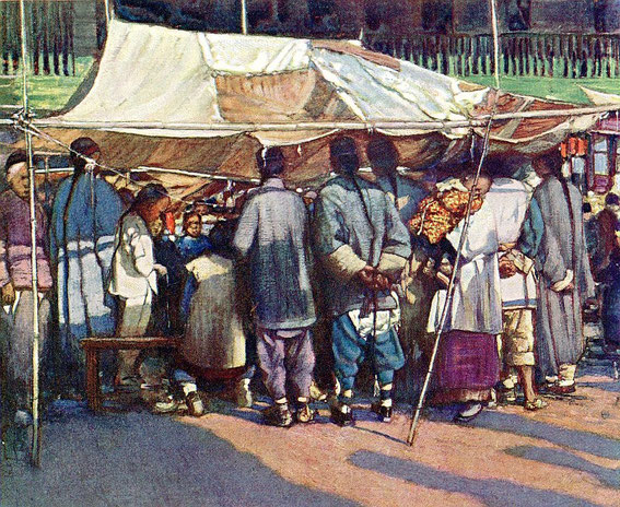 A street stall. Mortimer MENPES (1855-1938), Henry Arthur BLAKE (1840-1918) : China. — Adam and Charles Black, Londres, 1932, 138 pages, + 16 illustr. couleurs + 64 illustr. noir et blanc.